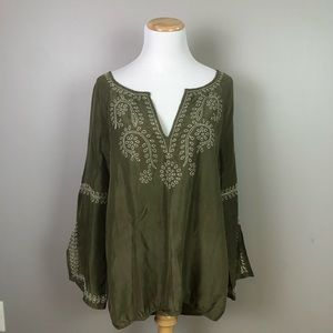Joie Olive Green Embroidered Silk Peasant Blouse